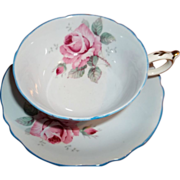 Vintage Paragon Teacup& Saucer - Hand-painted Pink Roses