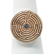 SOLD Maze Ring with Sapphire 14K Yellow Gold Ring Size 6.25