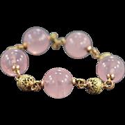 SALE 10K Rose Quartz & Gold Bead Bracelet 8 Yellow/Rose Gold