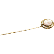 SALE 14K Antique Shell Cameo & Seed Pearl Stick Pin  Rose Gold