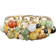 SALE 14K Multi Colored Jade Hinged Bangle Bracelet Yellow Gold