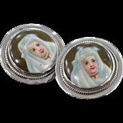 SALE 925Silver Vintage Porcelain Hand-Painted Nuns Skrew Back Earrings