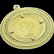 SALE 14K 1845 $2.50 Liberty US Coin Fancy Bezel Pendant  Yellow Gold