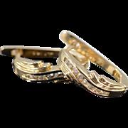 SALE 14K 0.20 CTW Diamond French Clip Earrings Half Hoop Earrings Yellow Gold
