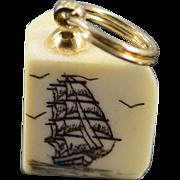 SALE 14K Ship Artwork Scrimshaw Boat Charm/Pendant Yellow Gold