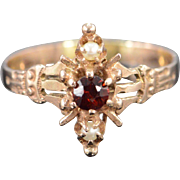 SALE 10K Victorian 0.25 CT Garnet 2mm Seed Pearl Carved Ring - Size 8 / Yellow ...