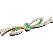SALE 10K Victorian 1.15 CT Emerald 2.35 CTW Diamond Bow Pin/Brooch Yellow ...