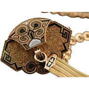 """SALE 14K Victorian Black Enameled Carved Watch Fob  17.25"""" Yellow Gold"""