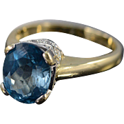 SALE 18K 3.50 CT Oval London Blue Topaz Ring - Size 8 / Yellow Gold