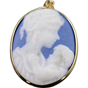 SALE 10K Oval Blue Mother & Child Carved Cameo Pendant Yellow Gold