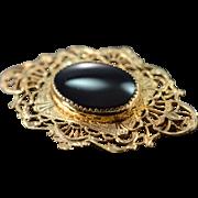 SALE Gold Filled Oval Black Onyx Filigree Pin/Brooch