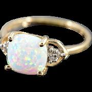 SALE 10K Imitation Opal Diamond Bling Ring Yellow Gold