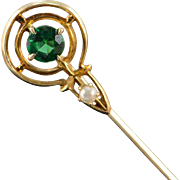 SALE 14K Art Deco Green Glass Round Seed Pearl Stick Pin Yellow Gold