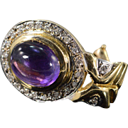 SALE 10K 5.00 CTW Cabochon Amethyst Diamond French Clip Earrings Yellow Gold