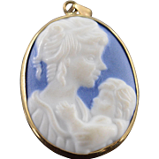 SALE 10K Mother Holding Child Cameo Charm/Pendant Yellow Gold