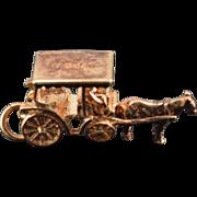 "SALE 9K Vintage ""Nassau"" 3D Horse Drawn Cart Charm/Pendant Yellow  Gold"