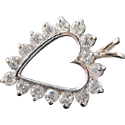 SALE 10K 1.00 CTW Open Heart Diamond Pendant White Gold