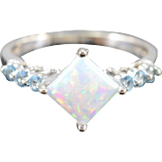SALE 10K Imitation Opal & Sky Blue Topaz Ring White Gold