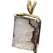 SALE 14K 14x12 mm Carved Mother of Pearl Soldier Intaglio Pendant Yellow Gold