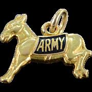 SALE 14K Enamel Donkey Army Mascot Charm/Pendant Yellow Gold