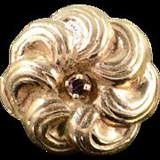 SALE 14K Victorian Ruby Pinwheel Slide Bracelet Charm/Pendant Yellow Gold