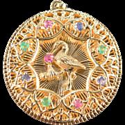 SALE 14K Vintage Gemstone Stork Newborn Baby Charm/Pendant Yellow Gold