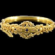 SALE 14K Victorian 0.35 CTW Sapphire & Rose Cut Diamond Filigree Hinged Bangle Bracelet 2 ...
