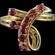 SALE 18K 0.70 CTW Ruby Ribbon Ring - Size 7 / Yellow Gold