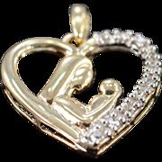 SALE 10K 0.15 CTW Diamond Mother & Child Heart Pendant Yellow Gold