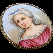"""SALE Base Metal Antique Hand Painted Woman Portrait 1.75"""" x 1.25"""" Pendant"""