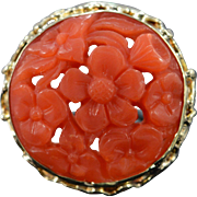 SALE 14K Antique 19mm Carved Coral Ring - Size 6.25 / Yellow Gold