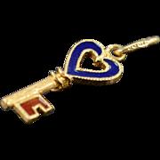 SALE 18K Blue & Red Enamel Heart Skeleton Charm/Pendant Yellow Gold