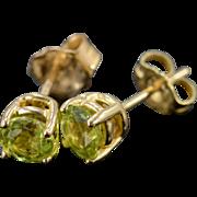 14K 1.00 CTW Round Green Peridot Stud Earrings Yellow Gold