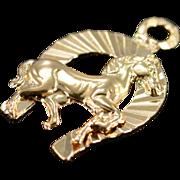 14K Horse & Horseshoe Charm/Pendant Yellow Gold