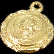 18K Petite Jesus Circle Pendant Yellow Gold