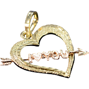 14K I Love You Heart Two Tone Charm/Pendant Yellow Gold