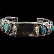 "SALE Sterling Silver Native American Popcorn Turquoise Watch Holder Bracelet 2.25"" Wide"