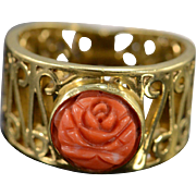 SALE 14K 9mm Carved Coral Fancy Filigree Ring - Size 6.75 / Yellow Gold