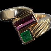 SALE 14K 1.62 CTW Emerald & Pink Tourmaline Geometric Ring - Size 10.25 / Yellow Gold