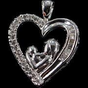 SALE 10K 0.25 CTW Diamond Mother & Child Heart Pendant White Gold