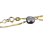 """SALE 14K 7mm Baroque Black Pearl Figaro Link Necklace 17.75"""" Yellow Gold"""