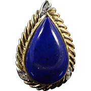 SALE 14K 0.10 CTW Diamond Teardrop Lapis French Clip Earrings Yellow Gold