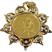 SALE 22K 0.20 CTW Old Mine Cut Diamond Virgin Mary Fancy Pendant Yellow Gold