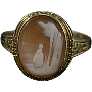 SALE 10K Antique City Scene Carved Cameo Ring Yellow Gold