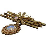 SALE 9K Victorian 1.25 CTW Opal Dragonfly Bar Pin/Brooch Yellow Gold