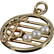 SALE 14K Pearl Bead Accented Treble Clef Music Bar Vintage Charm/Pendant Yellow  Gold