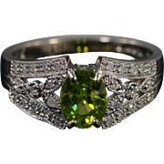 SALE 10K 1.35 CTW Peridot Diamond Filigree Ring - Size 8 / White Gold