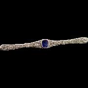SALE 14K 1.05 CTW Sapphire Diamond Filigree Bar Pin/Brooch White Gold