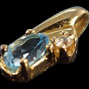 SALE 10K Imitation Stone Tear Drop Pendant Yellow Gold
