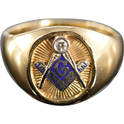 SALE 14K Diamond Mason Masonic Signet Men's Ring - Size 12.5 / Yellow Gold
